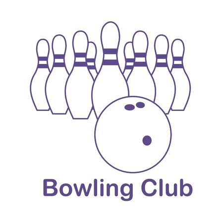 Vector illustration Bowling pins and ball on white background. Bowling club Sports theme. Games, hobbies, entertainment. Design for banner, poster or print.