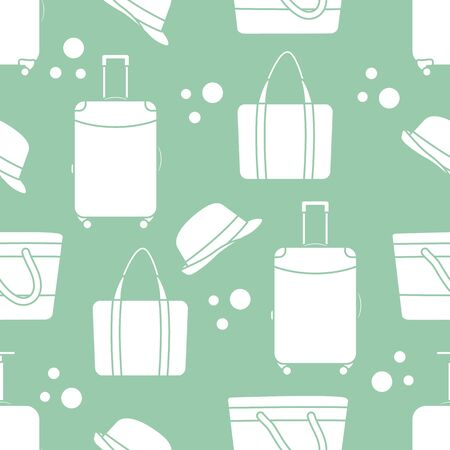 Vector travel seamless pattern Illustration with suitcase, sun hat, beach bag. Summer time, vacation, holiday, leisure background. Concept for travel agency. Design wrapping, fabric, print Ilustração