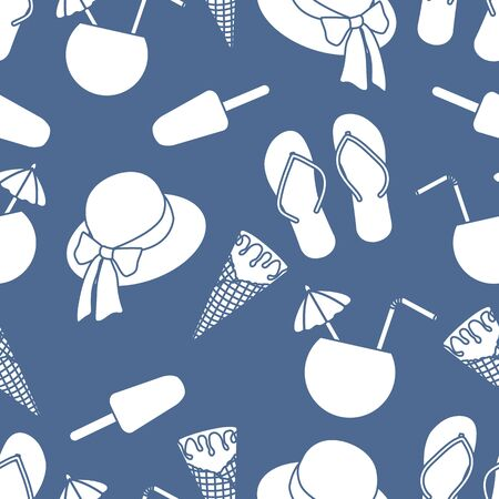 Vector travel seamless pattern Illustration with sun hat, ice cream, cocktail, flip flops. Summer time, vacation, holiday, leisure background. Concept for travel agency. Design wrapping, fabric, print Ilustração