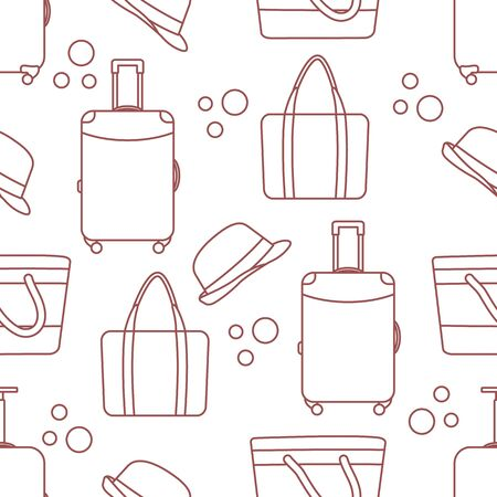 Vector travel seamless pattern Illustration with suitcase, sun hat, beach bag. Summer time, vacation, holiday, leisure background. Concept for travel agency. Design wrapping, fabric, print Ilustracja