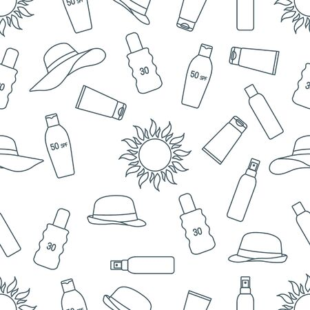 Vector seamless pattern Travel illustration Sun, sun hats, sunscreen cream, lotion, milk Skin protection from solar ultraviolet radiation Summer time, holiday background Design wrapping, fabric, print Illustration