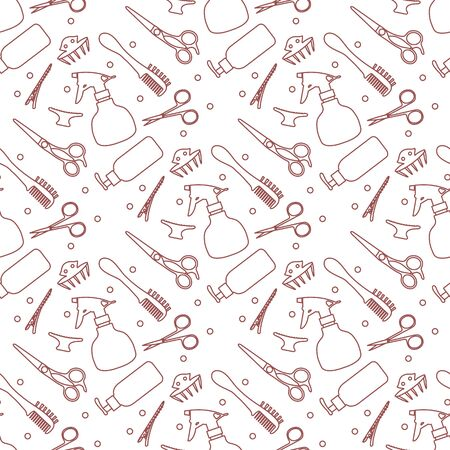 Vector seamless pattern Professional hairdresser tools Barbershop. Beauty, hairdressing salon. Manicure. Scissors, comb, sprayer, hairclip Glamour fashion vogue style Design for poster, banner, print