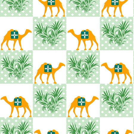 Vector Seamless pattern with camel and plant. Wildlife Animal Green natural trendy background. Design for wrapping, fabric, print Vectores