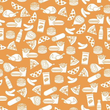 Seamless food pattern Sausage, hamburger, cheese, pizza, french fries, chips, hot dog, ham, chicken Fast food Snack Picnic. Harmful eating habits Unhealthy lifestyle Design for wrapping, fabric, print Ilustração