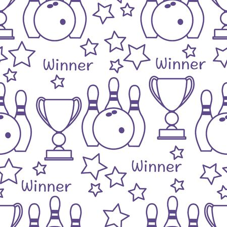 Seamless pattern with bowling pins and bowls, winner cup. Sports theme. Bowling Club Center Game, hobby, entertainment. Design for wrapping, fabric or print.  イラスト・ベクター素材