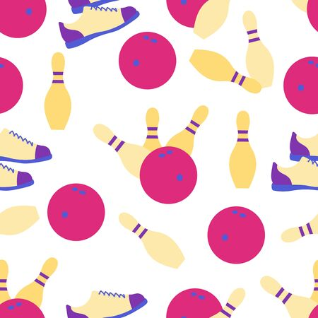 Seamless pattern with bowling shoes, pins and bowls. Sports theme. Bowling club Center Game, hobby, entertainment. Design for wrapping, fabric or print.