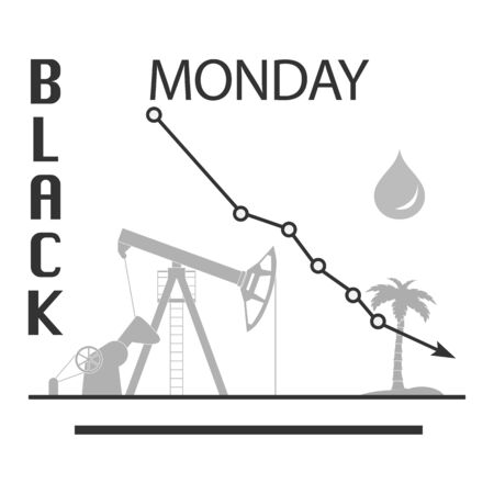 Vector illustration Oil industry. Falling prices. Economic crisis. Schedule drop in demand. Market. Trading on the exchange Increased production Equipment for oil production Design for web page, print