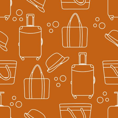 Vector travel seamless pattern Illustration with suitcase, sun hat, beach bag. Summer time, vacation, holiday, leisure background. Concept for travel agency. Design wrapping, fabric, print
