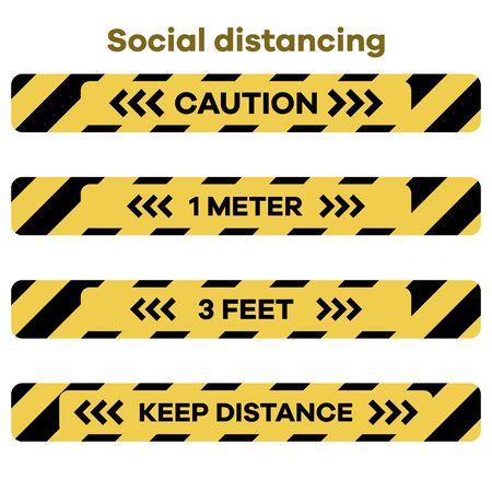 Vector illustration Keep distance. Social distancing. coronavirus COVID-19 Quarantine.