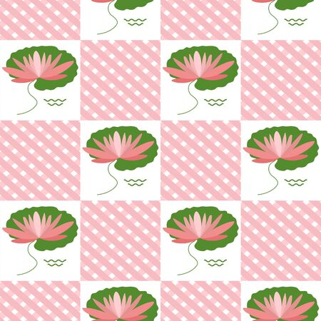 Vector Seamless pattern with flowers and leaves water lilies. Green natural background. Trendy. Design for wrapping, fabric, print