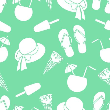 Vector travel seamless pattern Illustration with sun hat, ice cream, cocktail, flip flops. Summer time, vacation, holiday, leisure background. Concept for travel agency. Design wrapping, fabric, print  イラスト・ベクター素材