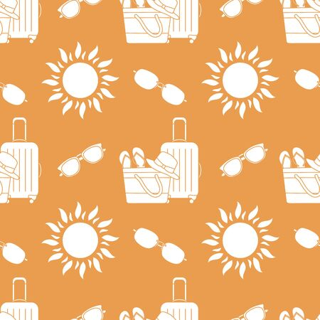 Vector travel seamless pattern Illustration with suitcase, beach bag, flip flops, sun, sun hat, sunglasses. Summer time, vacation, holiday, leisure background. Design wrapping, fabric, print  イラスト・ベクター素材