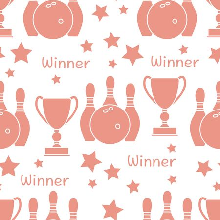 Seamless pattern with bowling pins and bowls, winner cup. Sports theme. Bowling Club Center Game, hobby, entertainment. Design for wrapping, fabric or print. Illustration