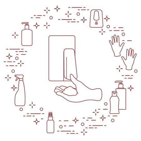 Vector illustration coronavirus COVID-19 Pandemic People respiratory Virus 2019-nCoV protection and infection prevention. Hand washing. Soap dispenser, gloves, sanitizer Health, medicine