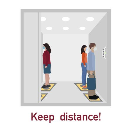 Vector illustration Keep distance. Social distancing.