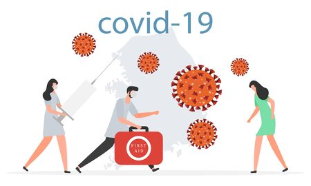 Vector illustration coronavirus COVID-19 Pandemic South Korea People Medical care for patients Invention of vaccine 2019-nCoV Stop spread of pathogen respiratory China virus SARS Design print