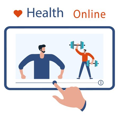 Vector illustration coronavirus COVID-19 Quarantine. Sport and fitness training at home. Stay home Social distancing Online sports activities Active lifestyle Fitness blog, workout app concept