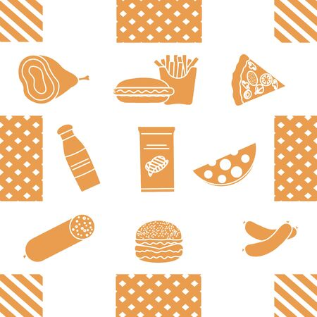 Seamless pattern with food. Sausage, hamburger, cheese, pizza, french fries, chips, hot dog, ham. Unhealthy lifestyle. Fast food Snack Picnic. Harmful eating habits Design for wrapping, fabric, print