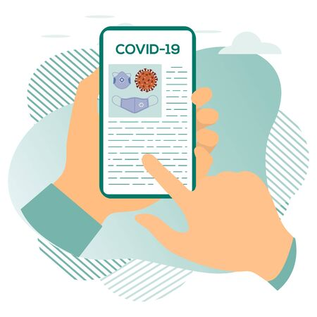 Vector illustration 2019-nCoV Human looking for information about coronavirus COVID-19 on a modern device. Pathogen respiratory coronavirus SARS pandemic risk Design for website, print