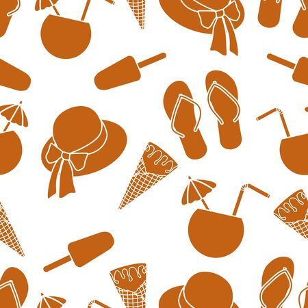 Vector travel seamless pattern Illustration with sun hat, ice cream, cocktail, flip flops. Summer time, vacation, holiday, leisure background. Concept for travel agency. Design wrapping, fabric, print