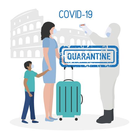 Vector illustration Quarantine. Returning infected tourists home. Coronavirus virus COVID-19 Quarantine Pandemic Reducing risk of infection, disease prevention measures Stay at home. Health care 向量圖像