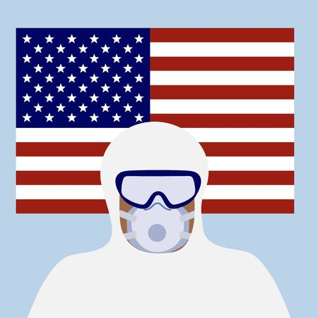 Vector illustration USA Coronavirus Pandemic Quarantine virus COVID-19 Danger 2019-nCoV Outbreaks of influenza American flag Doctor in hazmat suit, mask Worldwide threat of infection Health risk