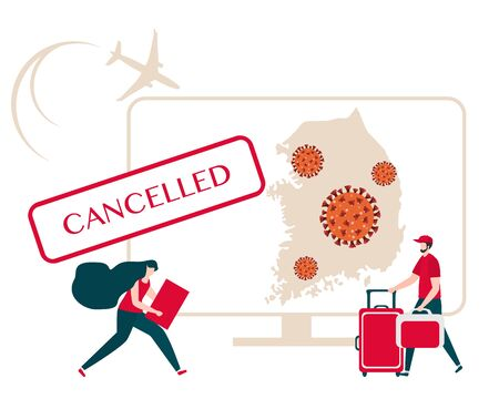 Vector illustration Quarantine. Holiday and travel cancellation Coronavirus virus COVID-19 Quarantine Pandemic Reducing risk of infection, disease prevention measures. Stay at home. Health care