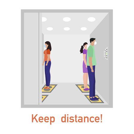 Vector illustration Keep distance. Social distancing. coronavirus COVID-19 Quarantine. Pandemic virus Reducing risk of infection, disease prevention measures. People in masks in elevator Vecteurs