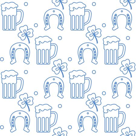 Seamless pattern with clover leaves, beer mug, horseshoe. St. Patricks Day. Holiday background. Irish vector pattern. Design for banner, poster, textile, print.