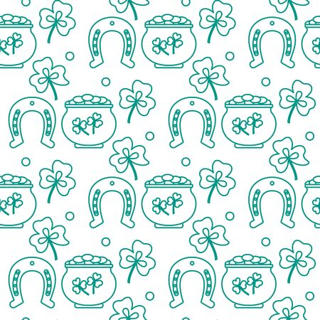 Seamless pattern with clover leaves, pot of gold, horseshoe. St. Patricks Day. Holiday background. Irish vector pattern. Design for banner, poster, textile, print. 向量圖像
