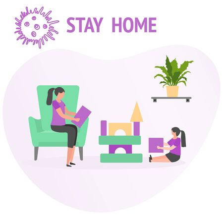 Vector illustration Stay home Parent Child play Coronavirus Quarantine. Pandemic. Social distancing Separation.   virus COVID-19. Health care concept Reducing risk of infection prevention measures