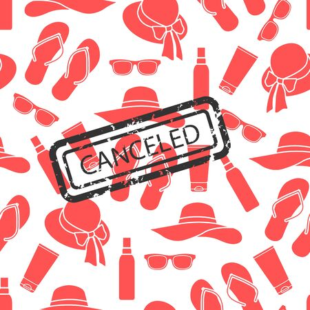 Vector seamless pattern Illustration Quarantine. Holiday and travel cancellation Coronavirus virus COVID-19 Quarantine Pandemic Reducing risk of infection Disease prevention measures Health care