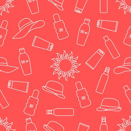 Vector seamless pattern Travel illustration Sun, sun hats, sunscreen cream, lotion, milk Skin protection from solar ultraviolet radiation Summer time, holiday background Design wrapping, fabric, print