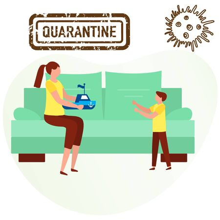 Vector illustration Stay home Parent plays with baby. Coronavirus Quarantine. Pandemic. Social distancing. Separation. virus COVID-19. Health care. Reducing risk of infection prevention measures