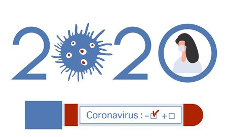 Vector illustration 2020 year Quarantine Coronavirus Pandemic COVID-19 Negative virus test tube. Blood test Doctor wearing mask virus Stop Danger infection 2019-nCoV Outbreak Health risk