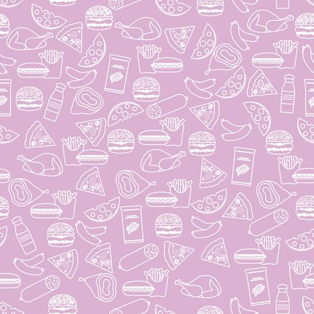 Seamless food pattern Sausage, hamburger, cheese, pizza, french fries, chips, hot dog, ham, chicken Fast food Snack Picnic. Harmful eating habits Unhealthy lifestyle Design for wrapping, fabric, print