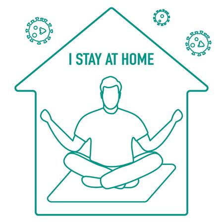 Vector illustration Stay home. coronavirus COVID-19 Quarantine. Sport, fitness training at home. Human is engaged in meditation. Yoga Relaxation Social distancing Sports activities Health care Ilustracja