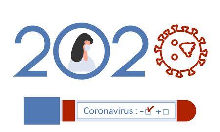 Vector illustration 2020 year Quarantine Coronavirus Pandemic COVID-19 Negative virus test tube. Blood test Doctor wearing mask virus Stop Danger infection 2019-nCoV Outbreak Health risk