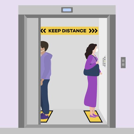 Vector illustration Keep distance. Social distancing. coronavirus COVID-19 Quarantine. Pandemic virus Reducing risk of infection, disease prevention measures. People in masks in elevator Vettoriali