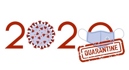 Vector illustration Quarantine Coronavirus Pandemic 2020 year Protect medical mask COVID-19 Stop virus Danger 2019-nCoV Outbreaks of influenza. Worldwide threat of infection. Health risk