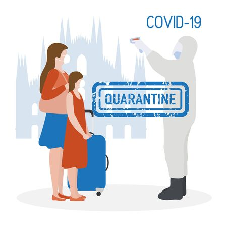 Vector illustration Quarantine. Returning infected tourists home. Coronavirus virus COVID-19 Quarantine Pandemic Reducing risk of infection, disease prevention measures Stay at home. Health care