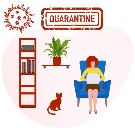 Vector illustration Stay home. Social distancing advice Separation. virus COVID-19 Human working on laptop. Remote work. Quarantine Pandemic Health Reducing risk of infection prevention measures Illustration