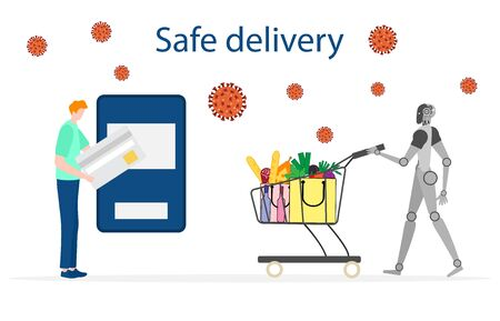 Vector illustration Quarantine. Online food, drink ordering, safe, fast delivery with robot. coronavirus COVID-19. Pandemic virus. Reducing risk of infection, disease prevention measures Vector Illustratie
