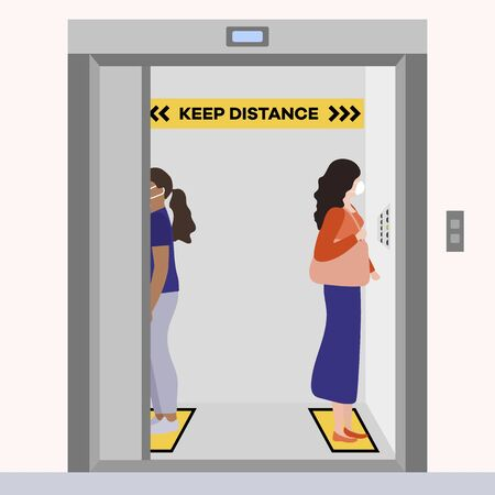 Vector illustration Keep distance. Social distancing. coronavirus COVID-19 Quarantine. Pandemic virus Reducing risk of infection, disease prevention measures. People in masks in elevator Vector Illustratie