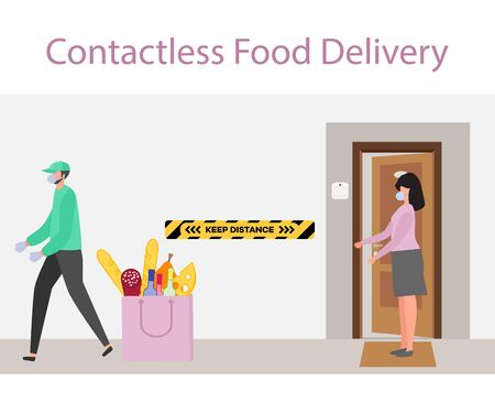 Vector illustration Contactless delivery People. Coronavirus COVID-19 Quarantine. Courier and customer keep safe distance when transferring order virus 2019-nCoV protection, infection prevention Ilustración de vector