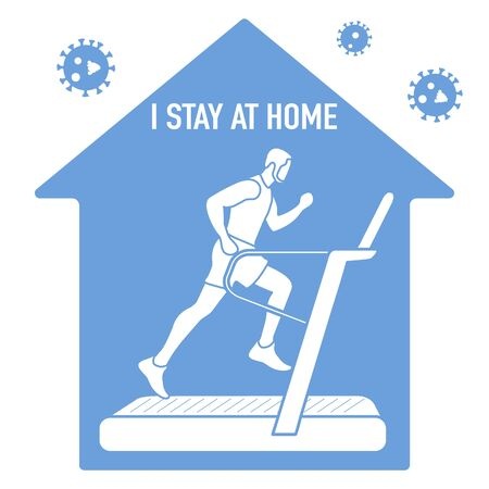 Vector illustration Stay home. coronavirus COVID-19 Quarantine. Sport, workout for wellness, fitness training at home Human engaged on treadmill Social distancing Sports activities Health care Ilustração