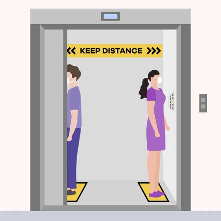 Vector illustration Keep distance. Social distancing. coronavirus COVID-19 Quarantine. Pandemic virus Reducing risk of infection, disease prevention measures. People in masks in elevator