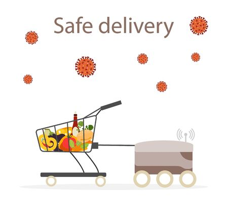 Vector illustration Quarantine. Online food, drink ordering, safe, fast delivery with robot.