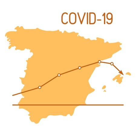 Vector illustration Spain map Schedule Reduction sharp drop of sick people Covid-19 Defeat coronavirus Without new infections Stop Pandemic 2019-nCoV Dangerous pathogen respiratory corona virus ncov