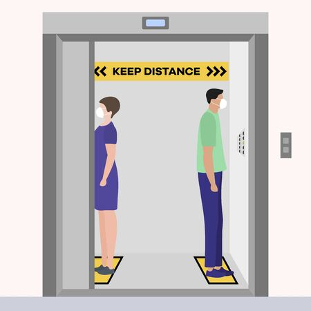 Vector illustration Keep distance. Social distancing. coronavirus COVID-19 Quarantine. Pandemic virus Reducing risk of infection, disease prevention measures. People in masks in elevator Illustration